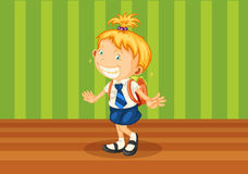 A girl with schoolbag Royalty Free Stock Photo