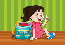 A girl with schoolbag Stock Photo