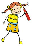 Girl and schoolbag and pencil. Funny illustration, vector icon Stock Images