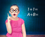 Girl schoolgirl costs about Chalkboard Royalty Free Stock Images