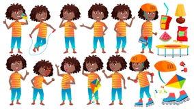 Girl Schoolgirl Kid Poses Set Vector. Black. Afro American. High School Child. Child Pupil. Active, Joy, Leisure. For royalty free illustration