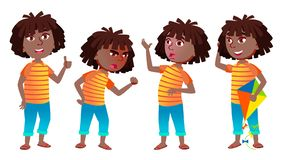 Girl Schoolgirl Kid Poses Set Vector. Black. Afro American. High School Child. Secondary Education. Young, Cute, Comic