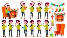 Girl Schoolgirl Kid Poses Set Vector. High School Child. School Student. Expression, Positive Person. For Web, Brochure vector illustration