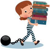 Girl schoolgirl prisoner with books in their hands Stock Photos