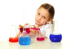 Girl in science class Stock Photos