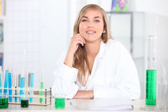 Girl in science lesson Royalty Free Stock Photo