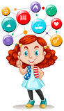 Girl and science symbols on buttons Stock Image