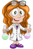Girl scientist chemist character cartoon style  illustration Royalty Free Stock Images