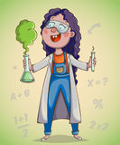 Girl scientist excited by discovery. Cartoon character. Vector illustration Royalty Free Stock Image