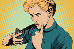 Girl scolds smartphone. People in retro style. vector illustration