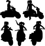 Girl on scooter Royalty Free Stock Photography