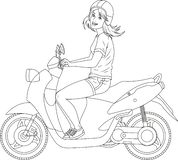 Girl on the scooter coloring page vector illustration