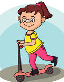 Girl and scooter Stock Image