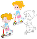 Girl scooterist Stock Photo