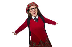 The girl in scottish tartan clothing isolated on white Stock Photo