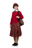 The girl in scottish tartan clothing isolated on white Stock Images