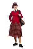 The girl in scottish tartan clothing  on white Royalty Free Stock Photos