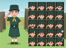 Girl Scout Cartoon Emotion faces Vector Illustration Stock Photography