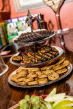 Girl Scout Cookie Tray. A tiered tray full of girl scout cookies Stock Photo