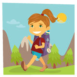 Girl Scout. Girl in Hike. Girl with Backpack Stock Photography