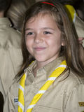 Girl scout. A happy young girl from the Scout Romania organisation wearing the uniform and scarf Stock Photography