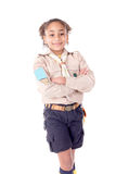 Girl scout. Little girl scout isolated in white Royalty Free Stock Image