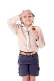 Girl scout. Little girl scout isolated in white Stock Images