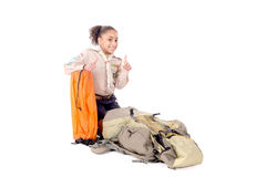 Girl scout. Little girl scout isolated in white Royalty Free Stock Photo
