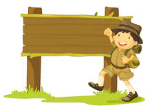 Girl scout and sign Royalty Free Stock Image