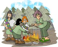 Girl Scout Troop. This illustration that I created depicts a girl scout troop around a campfire Stock Images