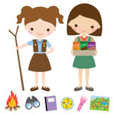 Girl Scouts. Illustration of girl scouts and related items Royalty Free Stock Image