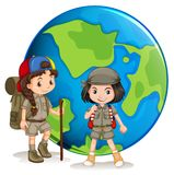 Girl scouts ready for hiking Stock Images