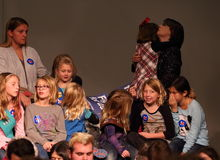 Girl Scouts waiting for Hillary Rodham Clinton to speak royalty free stock photo