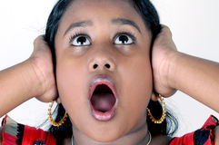 Girl scream. Beautiful young girl scream with surprise Royalty Free Stock Photography