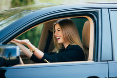Girl scream about road dangerous Stock Photos