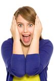 Girl screaming. Portrait of a pretty young woman screaming Royalty Free Stock Photography