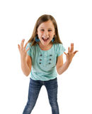 Girl screaming. Young girl screaming isolated on white Stock Photo