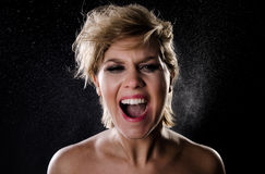 Girl screaming in anger Royalty Free Stock Images