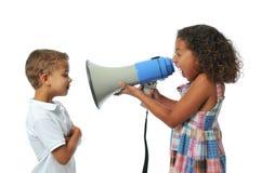 Girl screaming at boy Royalty Free Stock Images