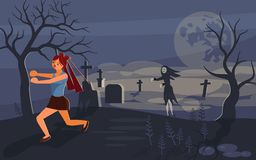 Ghost and lonely woman on cemetery vector illustration