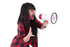 Girl screaming with megaphone Stock Photography