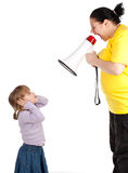 Girl and screaming mother with megaphone Royalty Free Stock Image