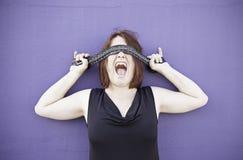 Girl screaming stuffy Stock Images