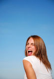 Girl screaming YEAH Royalty Free Stock Images