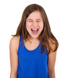 Girl screaming. Young girl screaming, isolated on white Stock Images
