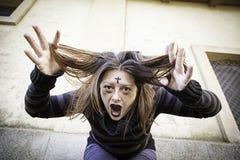 Girl screams crazy Royalty Free Stock Photos