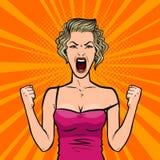 Girl screams loudly or young woman in rage. Pop art retro comic style. Cartoon vector illustration. Girl screams loudly or young woman in rage. Pop art retro Stock Photos