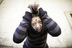 Girl screams schizophrenia Royalty Free Stock Images