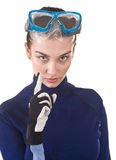 Girl scuba diver in goggles. Royalty Free Stock Photography