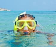 The girl in scuba mask Stock Photography